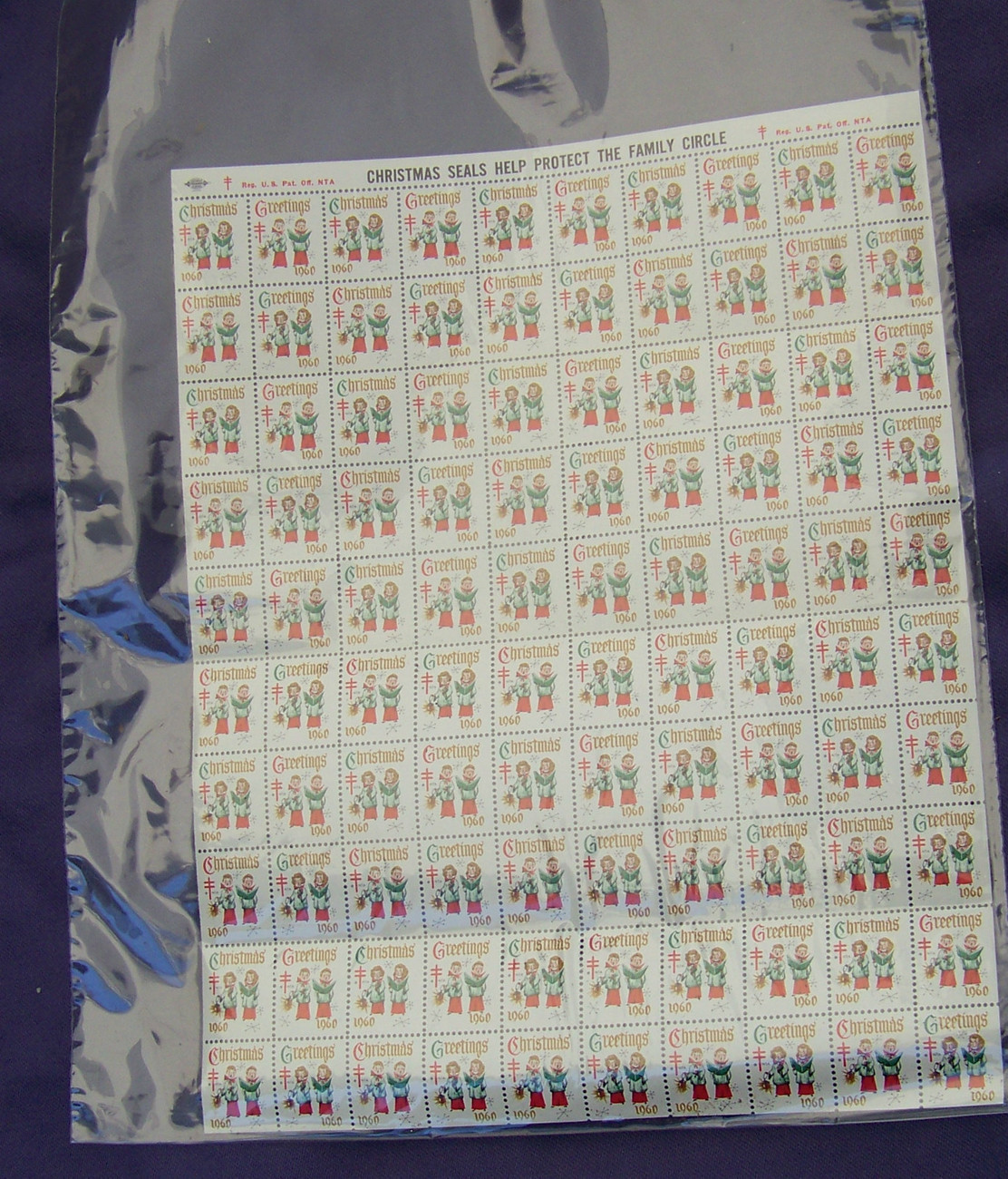 Primary image for Collectable FULL SHEET of 100 UNUSED 1960 CHRISTMAS SEALS singers
