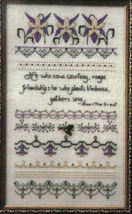 "Counted Cross Stitch Pattern ""Columbine Candlelight"" Sampler - $6.50"
