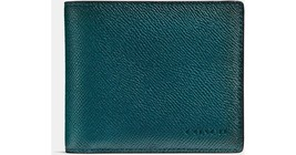 COACH Compact ID Wallet in Crossgrain Leather i... - $166.25