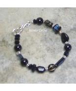 Black Onyx Gemstone,Crystal & Acrylic Sterling Silver Bracelet - $14.99