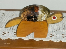 Vintage Wood Turtle Pin Cushion Hand Made Tortoise Needle Holder Sewing ... - $14.99