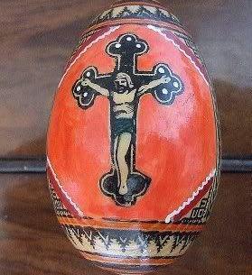 Easter Egg Ukrainian Russian Pysanka Handpainted Wooden Larg
