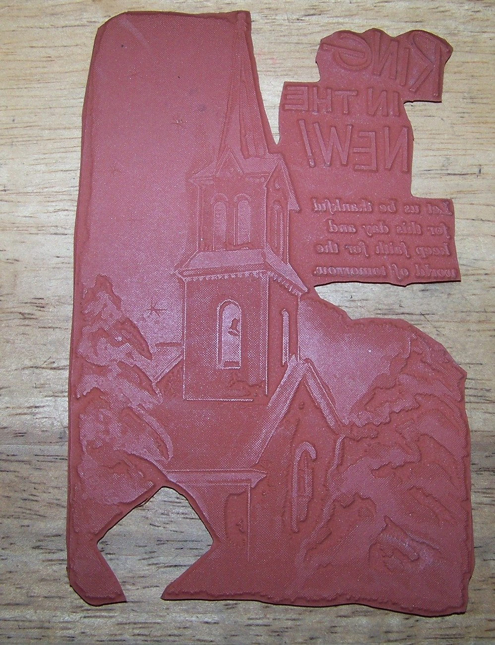Primary image for Gigantic card sized Ring in the new year Church Rubber Stamp