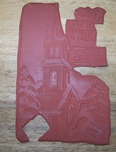 Gigantic card sized Ring in the new year Church Rubber Stamp  - $9.00