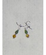 Beautiful Teardrop Green Agate and MOP Dangles Pierced Earrings with Sil... - $15.99