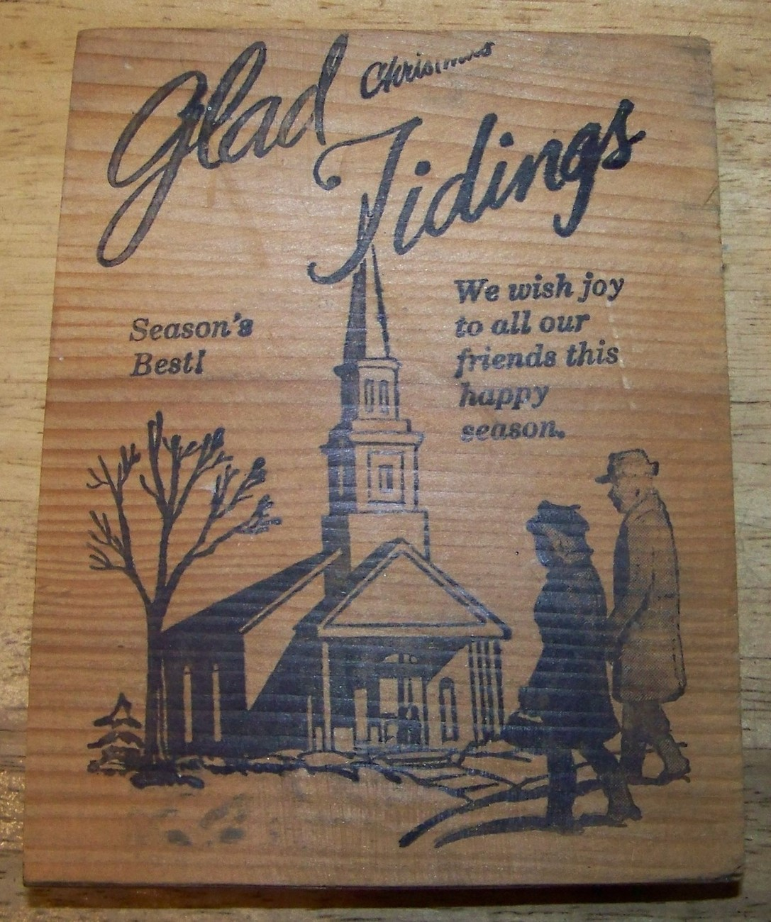 Primary image for GlaD TidingS very largE ChristMaS CarD  Rubber Stamp Church PeoPle tree