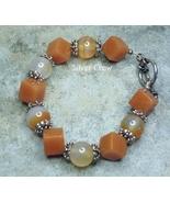 Chunky Carnelian & Natural Agate Gemstones Sterling Silver Bracelet - $30.99