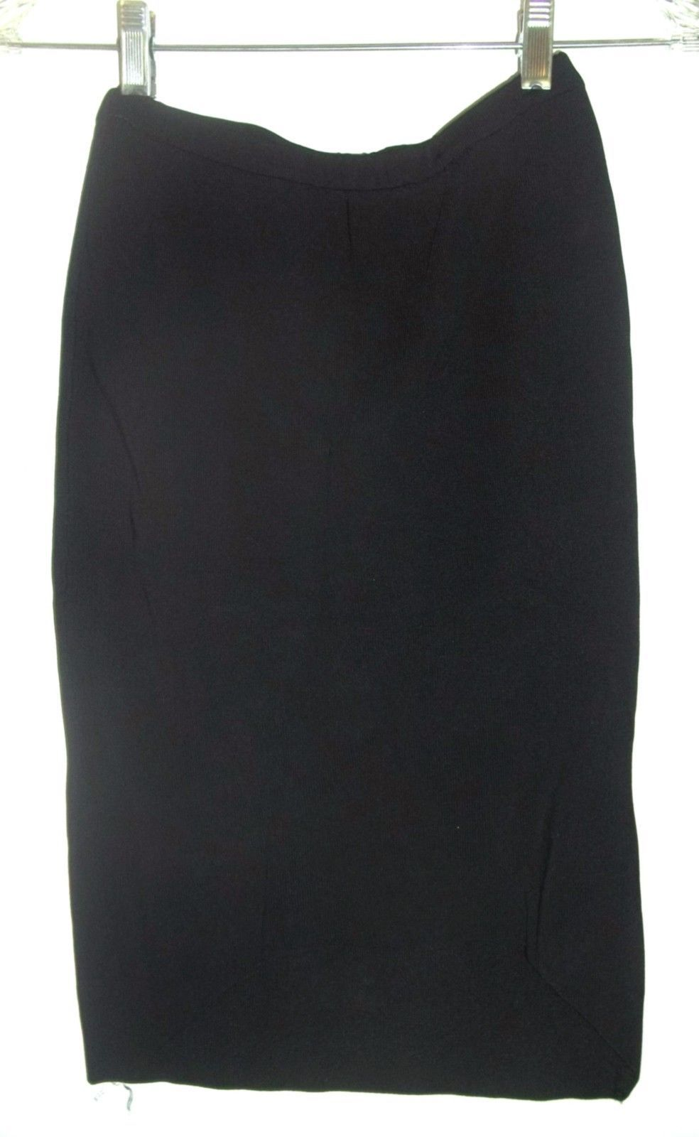 Sz XS - Elle Black Ribbed Rayon Blend Pencil Wiggle Skirt ~ Shorter in front! - $23.74