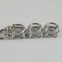 Collar Oro Blanco 750-18 CT,Trilogy Aguamarina Ovalados Quilates 2.50 y Diamante image 3