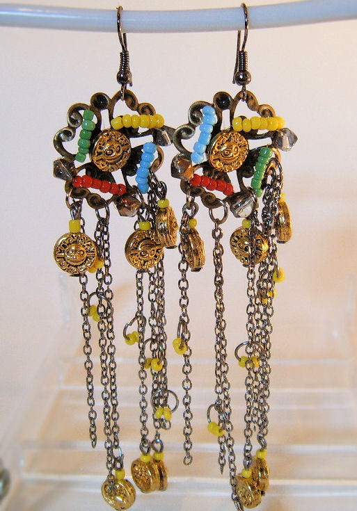 Earrings Crystals Chains Beads and Charms