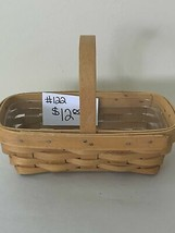 "2000 Longaberger Basket 8"" x 4 1/4"" x 5 3/4""h with plastic liner - $12.00"