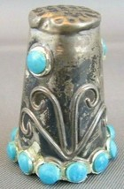 ANTIQUE Taxco Mexico Sterling Silver & Turquoise Thimble NATIVE AMERICAN... - $43.65