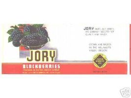 Jory Blackberry Can LABEL 1950's Oregon blackberries berry vintage - $8.69