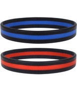 Thin Line Wrist Bracelets Support First Responders, Firefighter Red Poli... - $7.99+
