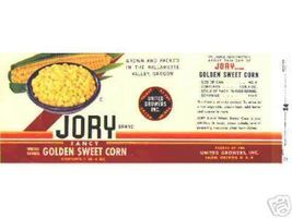 Jory CORN can LABEL 1950's Oregon UNUSED vintage ! - $8.69