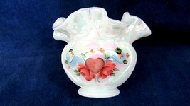 Fenton Art Glass Hand Painted Hearts And Flowers On Milk Carnival Rose B... - $36.63