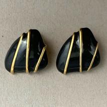 Monet Clip On Earrings Black Enamel Gold Tone Runway Triangle Vintage Si... - $15.80