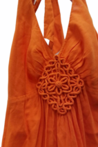 Women Trina Turk Orange Halter Summer Cotton Linen Dress Small image 2