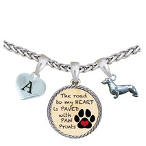 Custom Dachshund Weenie Dog Road to My Heart Paw Print Silver Necklace Initial - $17.09