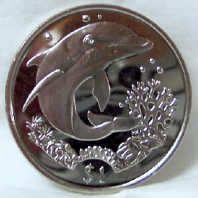 BVI DOLPHIN with CORAL 2004 $1 CUNI COIN UNC