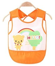 Waterproof Baby Bib Overclothes Painting Smock Apron Sleeveless Orange