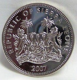 SIERRA LEONE AMAZING AFRICAN ZEBRA CUNI 2007 COIN UNC