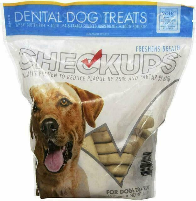 Checkups Dental Dog Treats for Dogs 20+ lbs Freshens Breath 24 Count Net Wt 3LB