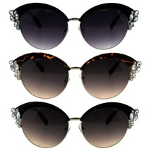 Womens Bling Iced Rhinestone Half Rim Diva Designer Fashion Sunglasses - $12.95