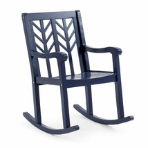 Outdoor Rocking Chair Navy Blue Modern Geometric Back Wooden Porch Patio... - $227.20