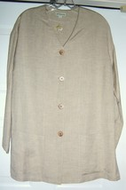 Ann Taylor Jacket Coat Tunic Style V-Neck 100% Linen Oatmeal S Oversize ... - $29.95