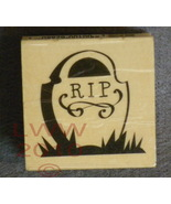 Wood-mounted Halloween RIP Tombstone Rubber Stamp - $3.95