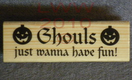 Wood-mounted Halloween Ghouls wanna have fun Rubber Stamp - $3.95