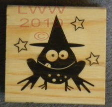 Wood-mounted Halloween Toad in Witch Hat Rubber Stamp  - $3.95