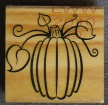 Wood-mounted Halloween Fall Autumn Pumpkin Rubber Stamp - $3.95