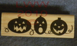 Wood-mounted Halloween 3 Jack-o-lanterns Rubber Stamp - $3.95