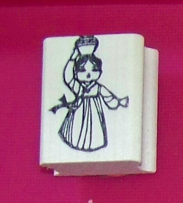 Primary image for Oriental Asian Girl carrying jug on head Rubber Stamp made in america free ship