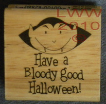 Wood-mounted Vampire Bloody Good Halloween Rubber Stamp - $3.95