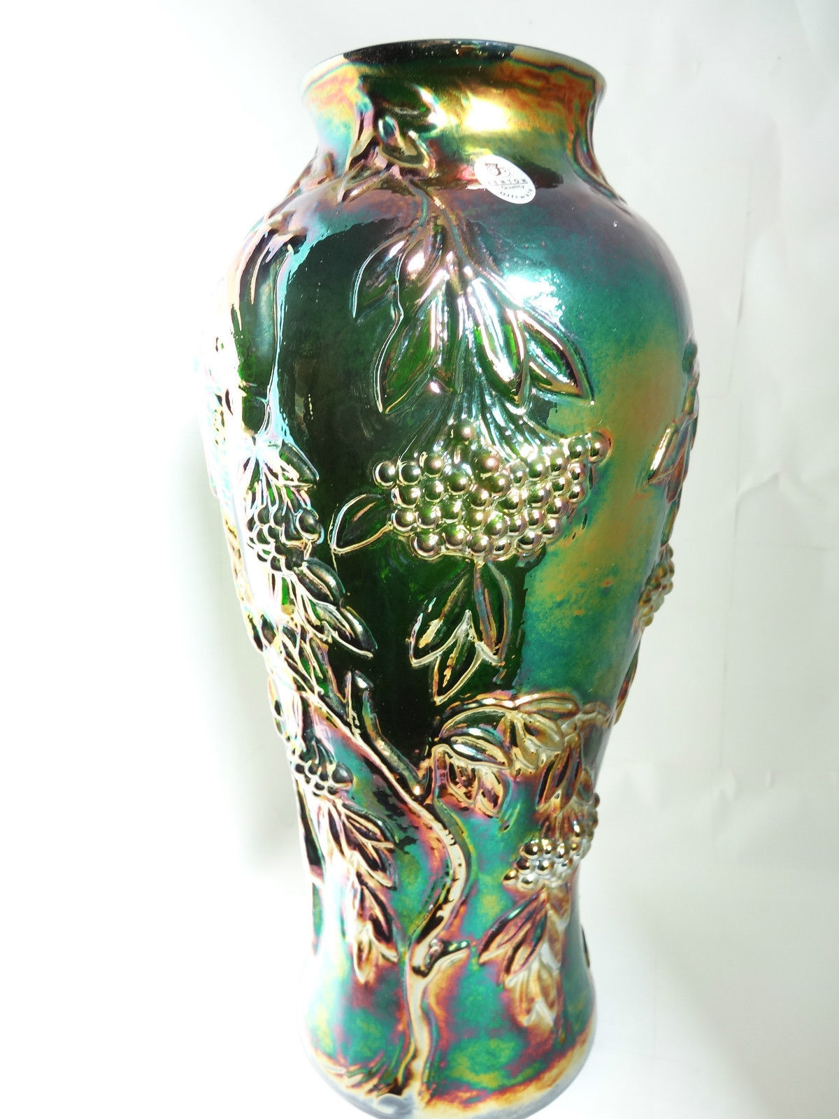 Fenton Art Glass Emerald Marigold Carnival Cockatoo Vase