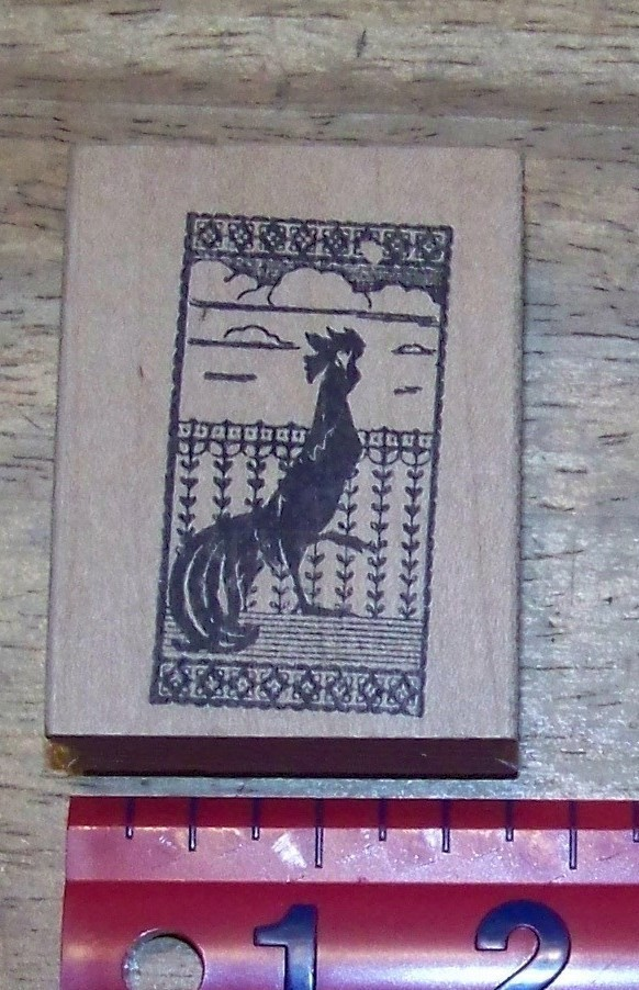 Primary image for Rooster in window with  fancy country curtain Rubber Stamp