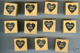 11 Conversation Hearts Rubber Stamps Valentines Sweet - $49.95