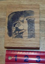 Santa on Rooftop looking up at a tall chimney christmas rubber stamp - $16.09