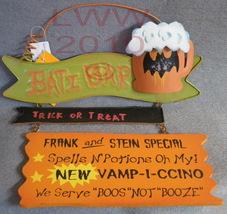 Bati Bar Trick or Treat Sign Metal & wood Halloween - $12.99