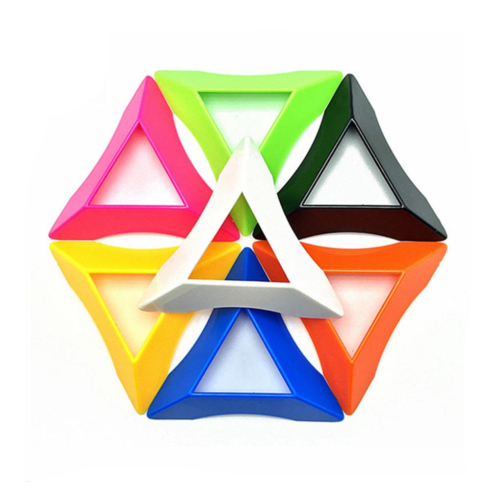 7pcs seven colors triangle pokeball and magic cube base 7 5cm