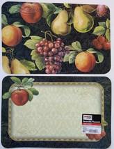 PLASTIC PLACEMATS Set of 4 Reversible Apple Mixed Fruit Grapes Cherry Place Mat image 1