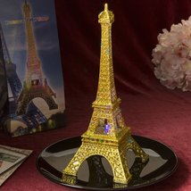 EIFFEL TOWER CENTERPIECE WITH GOLD GLITTER IN CLEAR ACRYLIC PLASTIC WITH... - $52.11