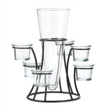 Circular Wrought Iron Candle Stand With Glass Vase - $15.33