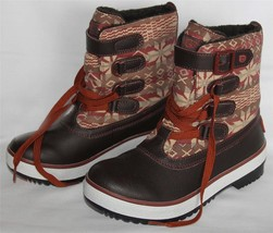 UGG NORDIC Snowflake Lace Buckle Lined Leather Textile Decatur Boots Wms 7 NIB - $89.99