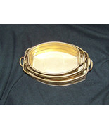 Set of 3 Vintage Brass nesting Planters with handles various sizes 8  9 ... - $38.55