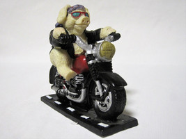 Highway Hog Cool Biker Pig On Motorcycle Figurine - $12.00
