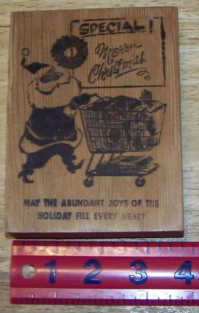 Primary image for Special Merry Christmas Santa with Shopping cart card size rubber stamp greeting